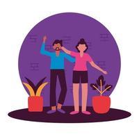 feliz, mujer y hombre, avatar, vector, diseño