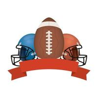 american football helmets and banner
