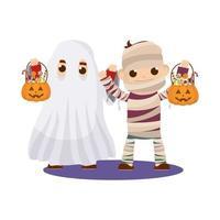 little kids in Halloween costumes vector