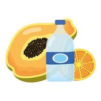 papaya tropical con naranja y botella de agua