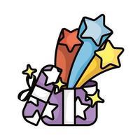 gift with stars splash magic sorcery vector