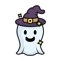 ghost with witch hat magic sorcery vector