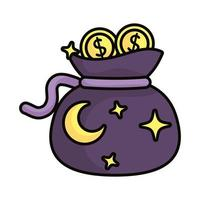 bag with stars and coins magic sorcery vector
