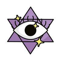 eye in star magic sorcery symbol vector