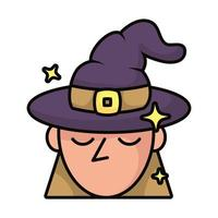 witch with hat magic sorcery icon vector