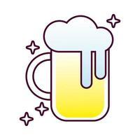 jarra de cerveza, vidrio, detallado, estilo, icono