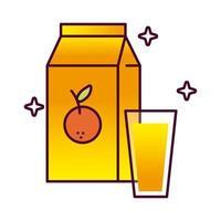 jugo de naranja en caja icono de estilo detallado