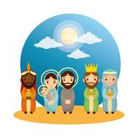 cute holy family and wise men manger characters