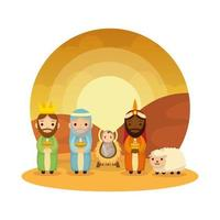 wise men kings with jesus baby manger characters vector illustration design
