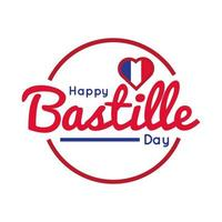bastille day lettering with heart hand draw style