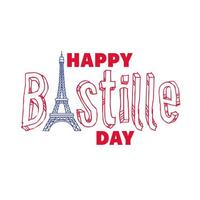 bastille day lettering with eiffel tower hand draw style