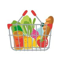 groceries in metallic basket free form style vector
