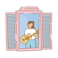 woman playing guitar in apartment window for quarantine free form style vector