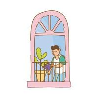 man care houseplant in apartment window for quarantine free form style vector