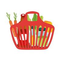 groceries in plastic basket free form style vector