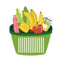 comestibles en canasta de plástico estilo libre vector