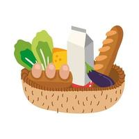 groceries in straw basket free form style vector