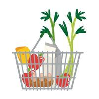 comestibles en forma libre de cesta metálica vector