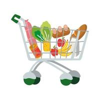 groceries in shopping cart free form style vector