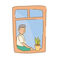 man seated in apartment window for quarantine free form style vector