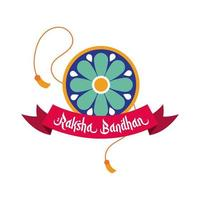 happy raksha bandhan flower wristband accessory and ribbon frame flat style