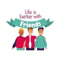 feliz celebración del día de la amistad con el grupo de hombres estilo de dibujo a mano pastel vector