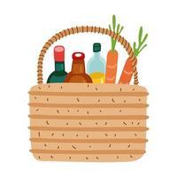comestibles en cesta de paja estilo de forma libre vector