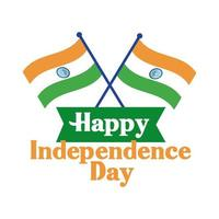 india independence day celebration with flags flat style vector