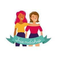 feliz celebración del día de la amistad con un par de chicas estilo de dibujo a mano pastel vector