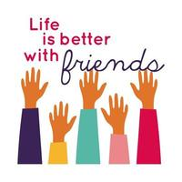 Feliz celebración del día de la amistad con las manos arriba estilo de dibujo a mano pastel vector