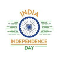 india independence day celebration with ashoka chakra flat style vector
