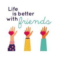 Feliz celebración del día de la amistad con manos levantando corazones estilo de dibujo a mano pastel vector