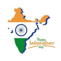 india independence day celebration with map flat style vector