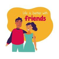happy friendship day celebration with couple pastel hand draw style vector