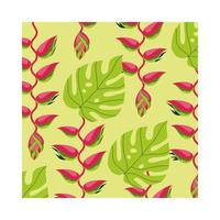 heliconias plants tropical pattern background vector