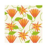 orange flowers plants tropical pattern background vector