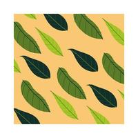 leafy plants tropical pattern background vector