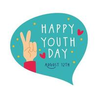 happy youth day lettering in speech bubble and hand peace and love flat style