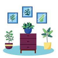 Plants and furniture vector design