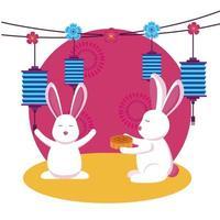 Rabbits of mid autumn festival vector design