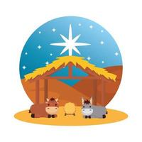 mule and ox in stable manger characters