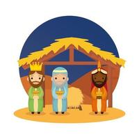 Reyes magos pesebre personajes diseño ilustración vectorial vector