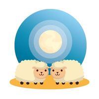 lindos personajes de animales de granja de ovejas vector
