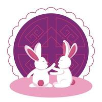 Rabbits of mid autumn festival vector design