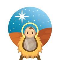 Niño Jesús en cuna de paja pesebre ilustración Vectorial character design vector