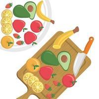 diseño vectorial de frutas aisladas