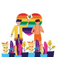 Men supporting LGTBIQ march design vector