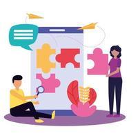 mujer y hombre, con, trabajo en equipo, icono, vector, diseño