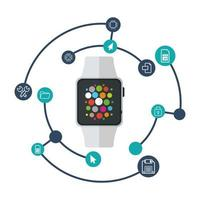 Isolated smart watch and icon set vector design
