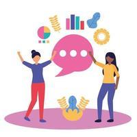 Avatar women with teamwork icon vector design